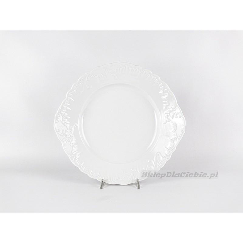 Talerz do ciasta 29 cm Ćmielów Rococo 001 (białe)