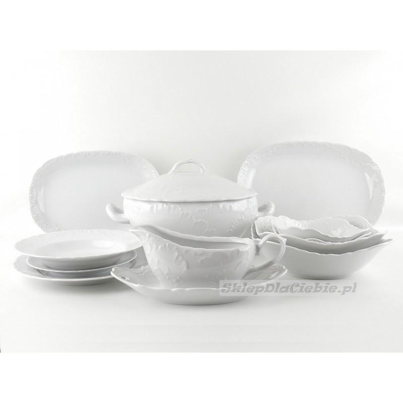 Serwis obiadowy 12 osób Ćmielów Rococo 001 (białe) 43 elementów