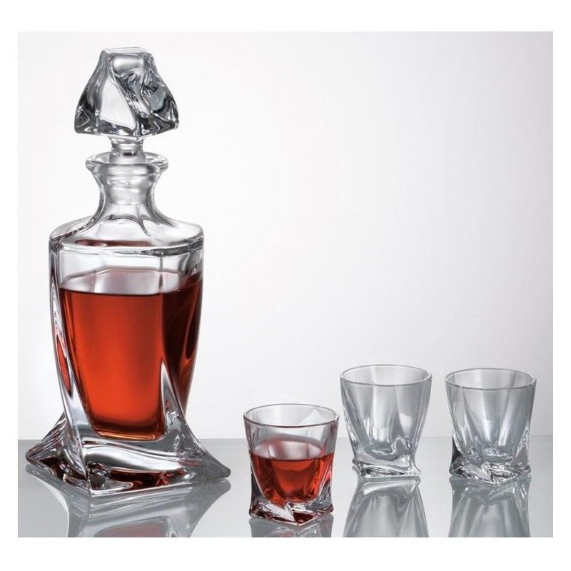 Quadro komplet szklanek z karafką platyna