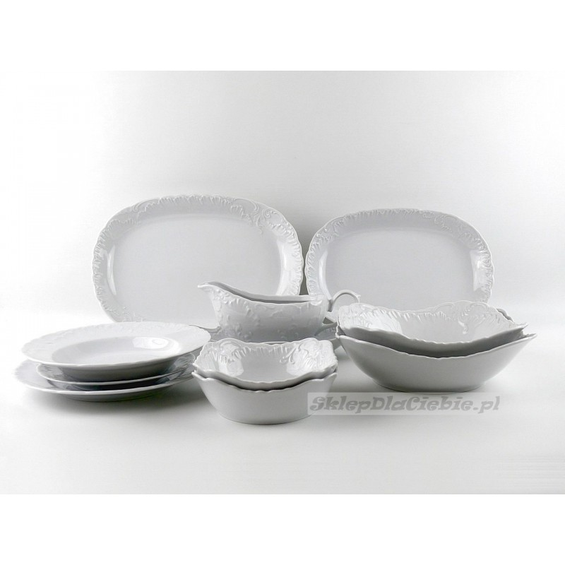 Serwis obiadowy 12 osób Ćmielów Rococo 0001 (białe) 44 elementów