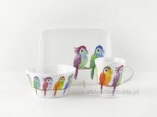 Zestaw śniadaniowy 3 el. Trendy papugi